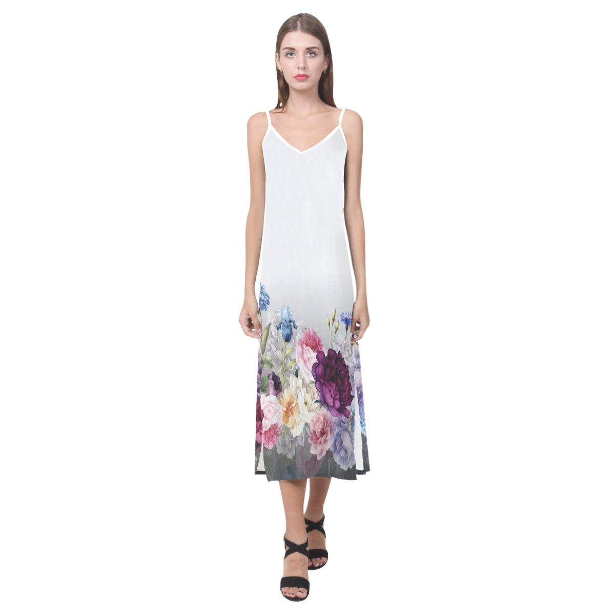 SANDRA V-Neck Open Fork Long Dress(Model D18)