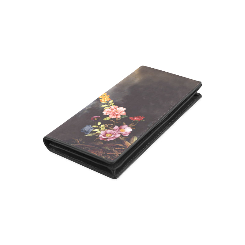 DARK FLORAL Women's Leather Wallet (Model 1611)