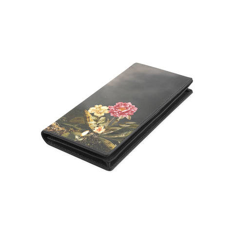 DARK FLORAL WITH TREE Women's Leather Wallet (Model 1611)