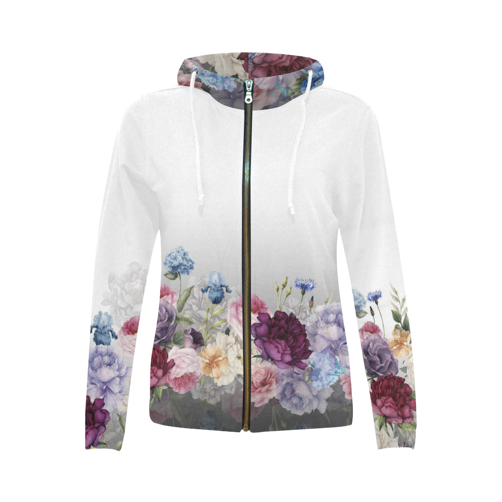 SANDRA All Over Print Full Zip Hoodie for Women (Model H14)