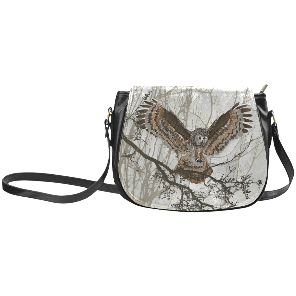 OWL ON BRANCH Classic Saddle Bag/Small (Model 1648)