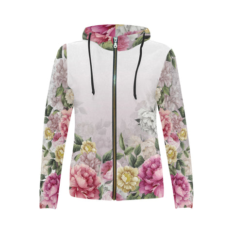 VERONICA All Over Print Full Zip Hoodie for Women (Model H14)