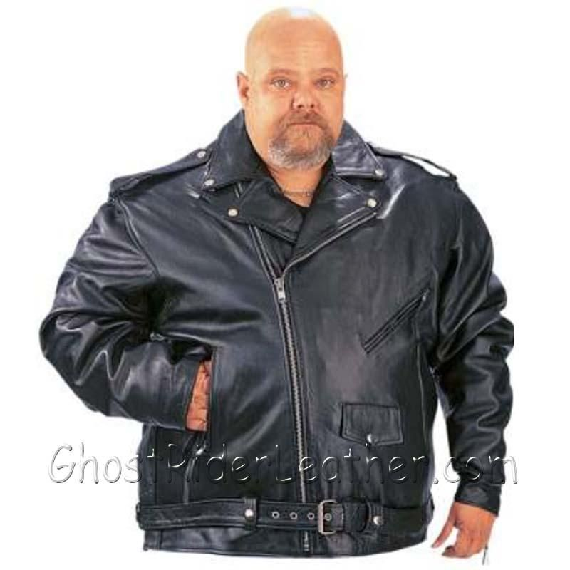 Mens Big Size Classic Style Motorcycle Jacket with Side Laces - SKU GRL-014.00-UN - Ghost Rider Leather