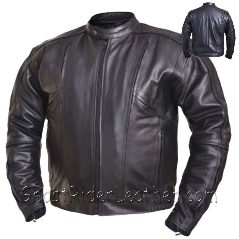 Mens Big and Tall Racer Euro Style Motorcycle Leather Jacket - SKU GRL-0209.BT-UN-big and tall leather jacket-Ghost Rider Leather