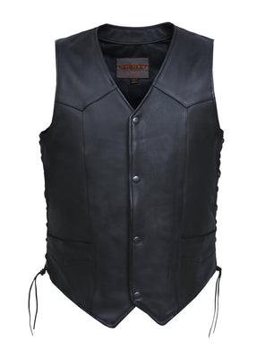 UNIK Men's Ultra Leather Motorcycle Vest - Big and Tall - SKU GRL-331-TL-UN - Ghost Rider Leather