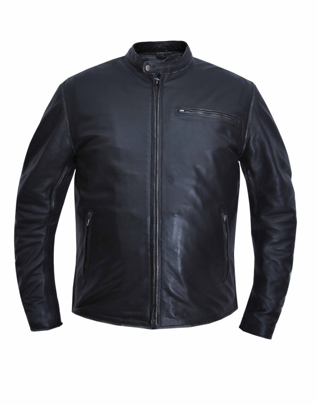 UNIK MEN'S CLASSIC LEATHER MOTORCYCLE SPORTY SCOOTER JACKET