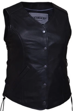 UNIK Ladies Leather Motorcycle Vest with Side Laces - SKU GRL-668-SL-UN - Ghost Rider Leather