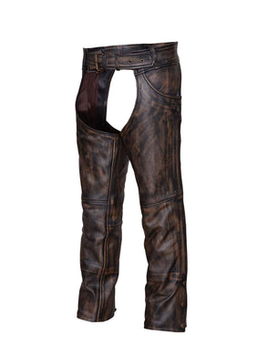 UNIK Unisex Nevada Brown Ultra Leather Chaps - SKU GRL-720-ABR-UN - Ghost Rider Leather