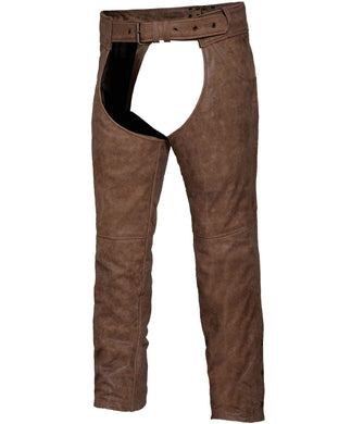 UNIK Arizona Brown Leather Chaps - SKU GRL-720-ANT-UN - Ghost Rider Leather