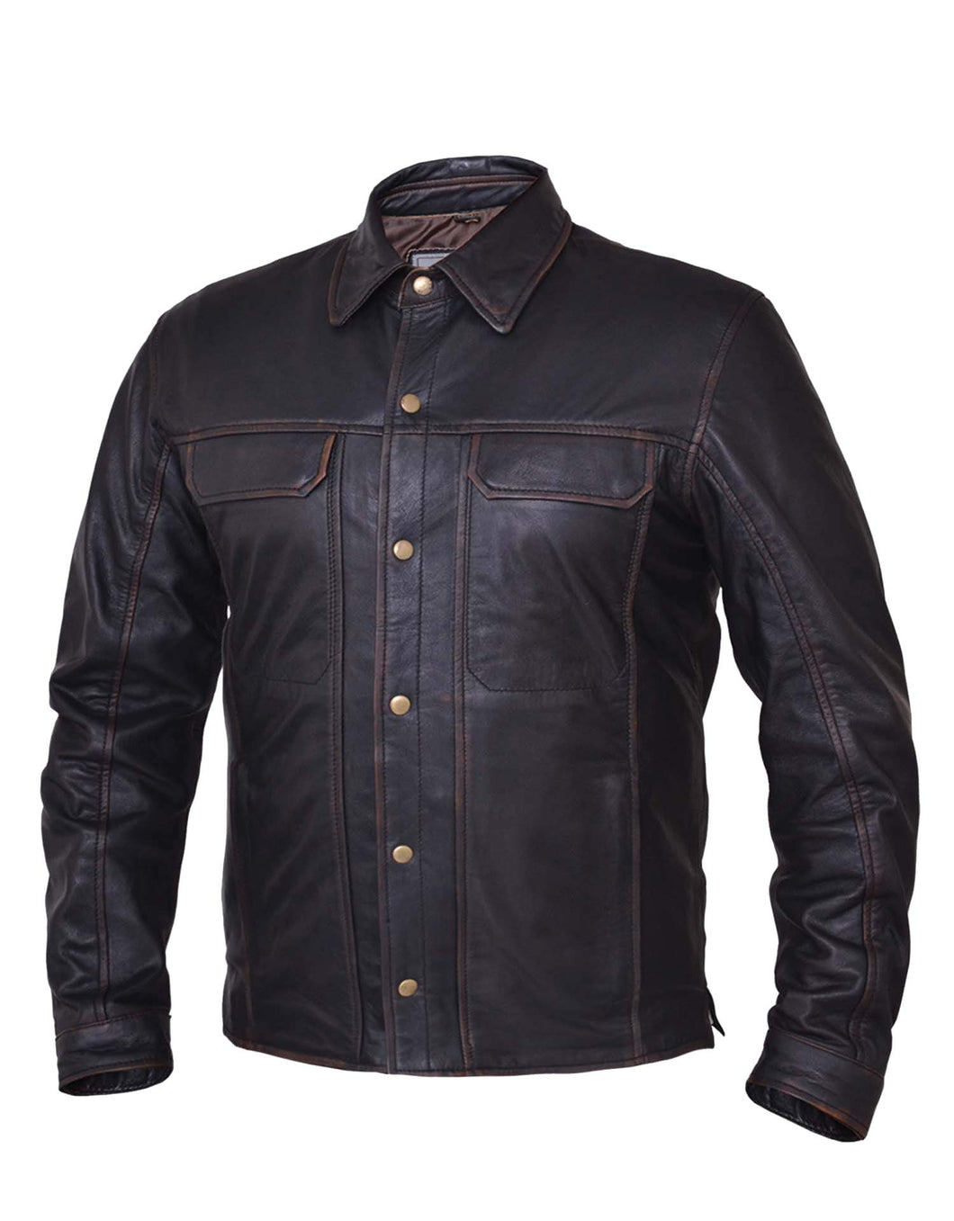 UNIK Men's Colorado Brown Leather Shirt - Ghost Rider Leather