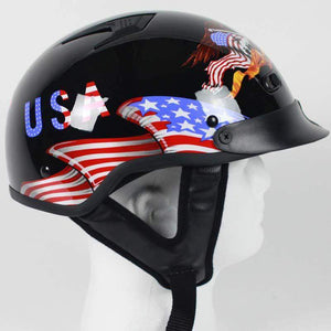 DOT Home of the Brave Motorcycle Shorty Helmet / SKU GRL-100BRAVE-HI - Ghost Rider Leather