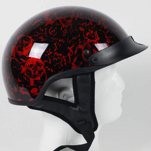 DOT Red Boneyard Motorcycle Shorty Helmet / SKU GRL-1BYR-HI-dot motorcycle helmet-Ghost Rider Leather