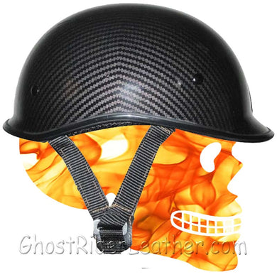 DOT Carbon Fiber LOOK Jockey Polo Motorcycle Shorty Helmet / SKU GRL-102CL-HI-dot motorcycle helmet-Ghost Rider Leather