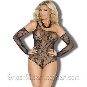 Ladies Black Floral Pattern Fishnet Teddy WIth Matching Gloves - SKU GRL-1147-1147Q-EML-Intimate Apparel-Ghost Rider Leather