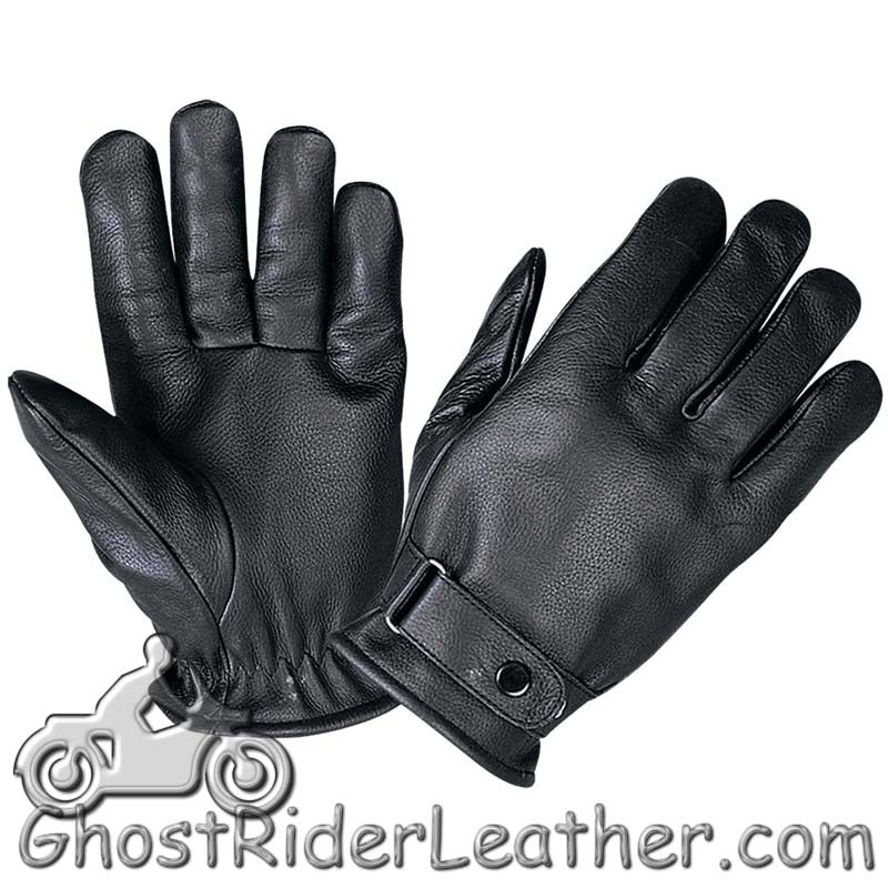 Full Finger Leather Riding Gloves with Adjustable Strap - SKU GRL-1229.00-UN - Ghost Rider Leather