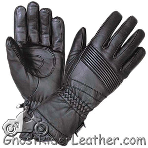 Full Finger Waterproof Leather Motorcycle Riding Gauntlet Gloves - SKU GRL-1433.00-UN-leather riding gloves-Ghost Rider Leather