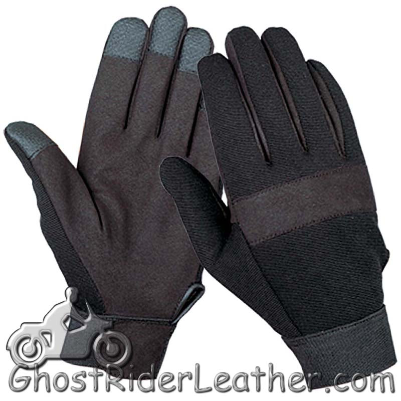 Black Textile Mechanics Gloves - SKU GRL-1464.00-UN-mechanics gloves-Ghost Rider Leather