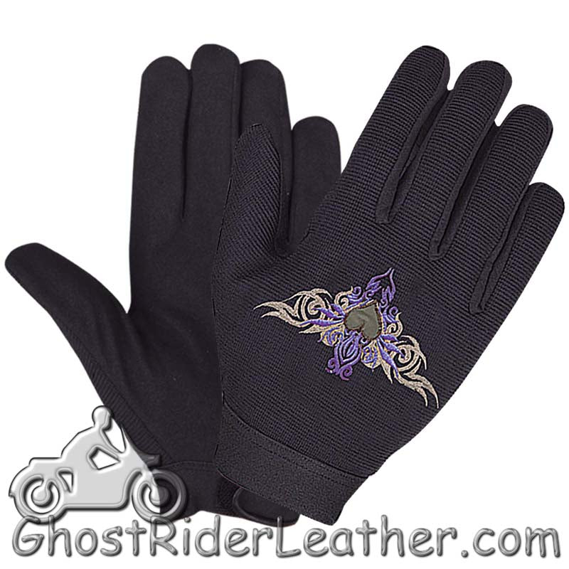 Tribal Heart Mechanics Gloves - Black and Purple / SKU GRL-1484.62-UN-mechanics gloves-Ghost Rider Leather