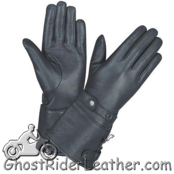 Ladies Full Finger Leather Gauntlet Motorcycle Riding Gloves - SKU GRL-1491.00-UN-leather riding gloves-Ghost Rider Leather