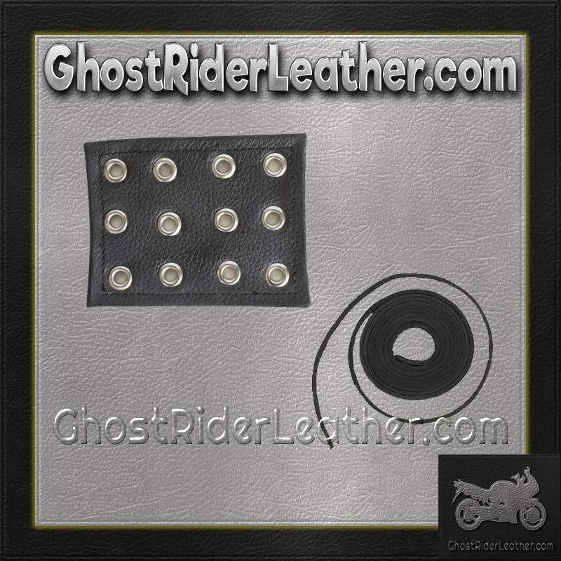 4 Inch Leather Chaps Extension with Leather Lacing / SKU GRL-CE1-CE3-GRL - Ghost Rider Leather