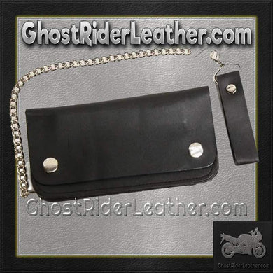 6 inch Black Leather Chain Wallet / Bifold / SKU GRL-AC50-DL - Ghost Rider Leather