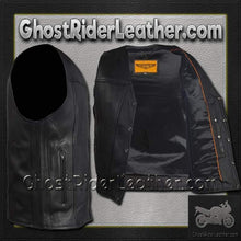 A Mens Classic Motorcycle Club Vest with Concealed Carry Pockets / SKU GRL-MV8014-DL-mens leather motorcycle club vest-Ghost Rider Leather