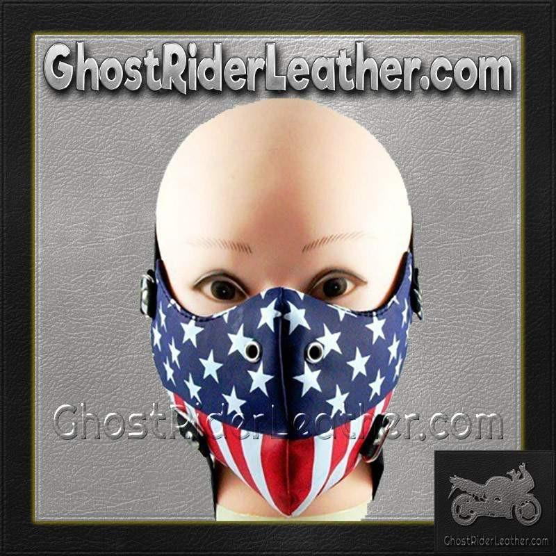 American Flag Half Face Mask in Pleather / SKU GRL-FMW49-HI - Ghost Rider Leather