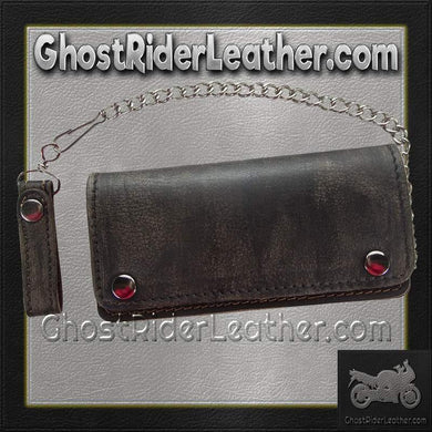 Bifold Distressed Brown Leather Chain Wallet / SKU GRL-AC51-12-DL - Ghost Rider Leather