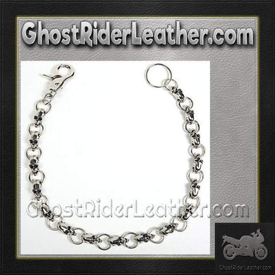 Biker Wallet Chain with Skulls / SKU GRL-WTC10-DL - Ghost Rider Leather
