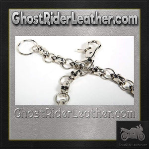 Biker Wallet Chain with Skulls / SKU GRL-WTC10-DL-wallet chain-Ghost Rider Leather