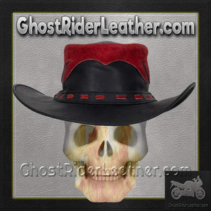 Black and Red Leather Gambler Hat / SKU GRL-HAT10-11-DL - Ghost Rider Leather
