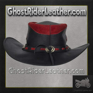 Black and Red Leather Gambler Hat / SKU GRL-HAT10-11-DL-cowboy hat-Ghost Rider Leather