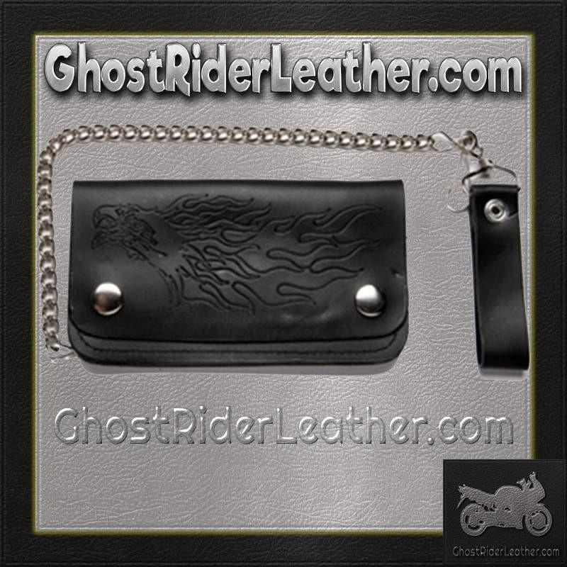 Black Leather Chain Wallet with Eagle and Flames Design / Bifold / SKU GRL-WALLET6-DL - Ghost Rider Leather