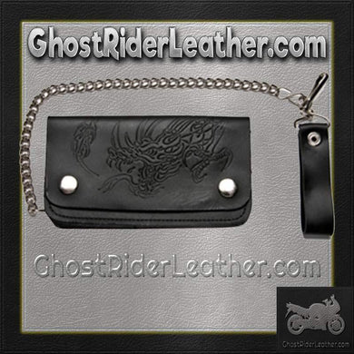 Black Leather Chain Wallet with Embossed Dragon - Bifold - SKU GRL-WALLET8-DL - Ghost Rider Leather