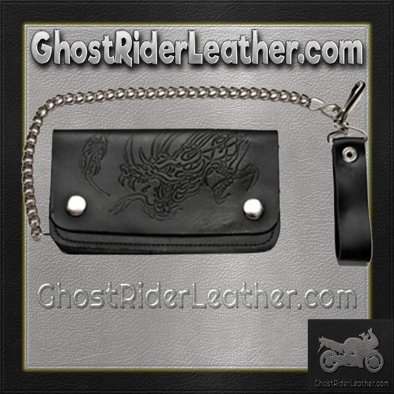 Black Leather Chain Wallet with Embossed Dragon / Bifold / SKU GRL-WALLET8-DL-chain wallet-Ghost Rider Leather