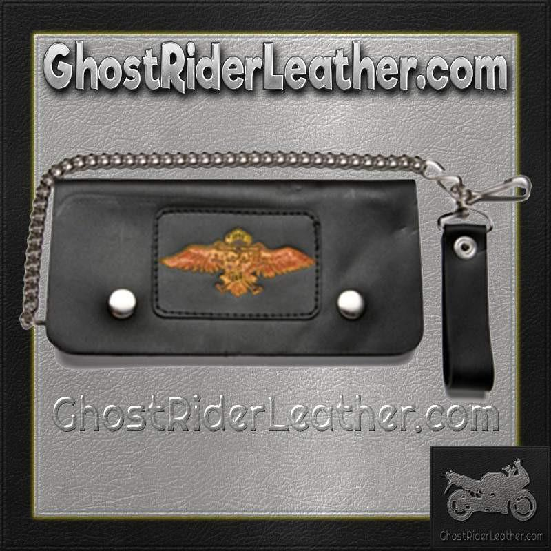 Black Leather Chain Wallet with Wings Design / Bifold / SKU GRL-WALLET11-DL - Ghost Rider Leather