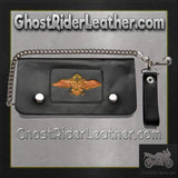 Black Leather Chain Wallet with Wings Design / Bifold / SKU GRL-WALLET11-DL-chain wallet-Ghost Rider Leather