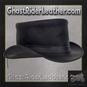 Black Leather Deadman Top Hat / SKU GRL-HAT1-11-DL-cowboy hat-Ghost Rider Leather