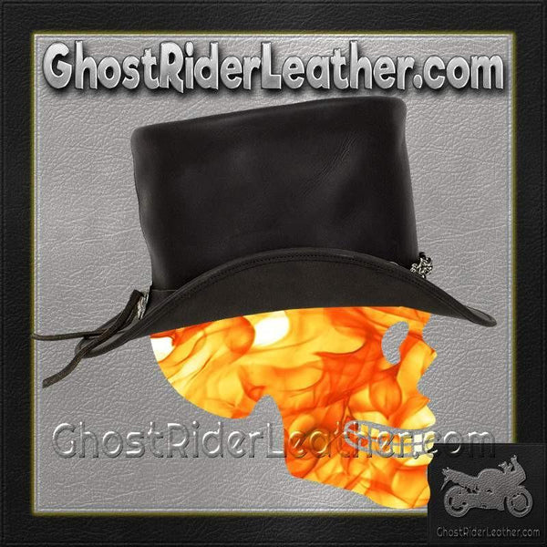 Black Leather Deadman Top Hat with Chrome Chain / SKU GRL-HAT8-11-DL-cowboy hat-Ghost Rider Leather