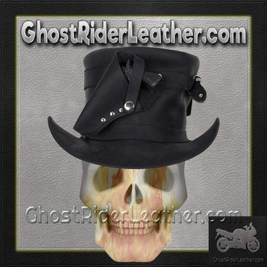 Black Leather Deadman Top Hat with Gun Holsters / SKU GRL-HAT7-11-DL - Ghost Rider Leather