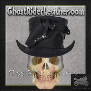 Black Leather Deadman Top Hat with Gun Holsters / SKU GRL-HAT7-11-DL-cowboy hat-Ghost Rider Leather
