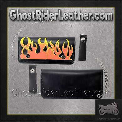 Black Leather Flame Wallet with Chain / SKU GRL-WALLET1-DL-chain wallet-Ghost Rider Leather