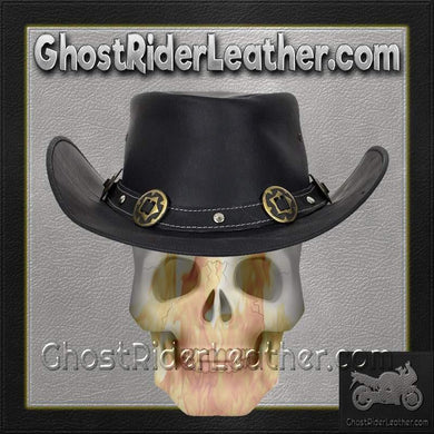 Black Leather Gambler Hat with Conchos / SKU GRL-HAT12-11-DL - Ghost Rider Leather