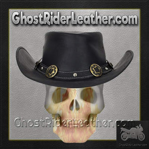 d80f75b63a8 Black Leather Gambler Hat with Conchos   SKU GRL-HAT12-11-DL – Ghost ...