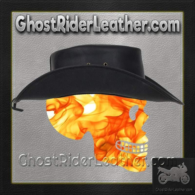 92c22a3a48c Black Leather Gambler Hat with Conchos   SKU GRL-HAT12-11-DL – Ghost Rider  Leather