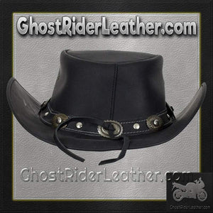 Black Leather Gambler Hat with Conchos / SKU GRL-HAT12-11-DL-cowboy hat-Ghost Rider Leather