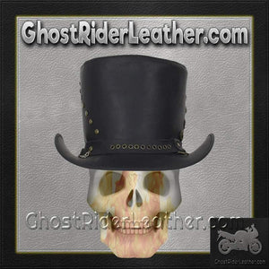 Black Leather Top Hat with Brass Studs / SKU GRL-HAT15-11-DL - Ghost Rider Leather