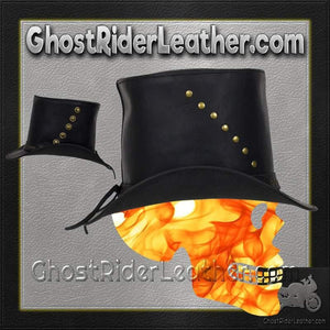 Black Leather Top Hat with Brass Studs / SKU GRL-HAT15-11-DL-cowboy hat-Ghost Rider Leather