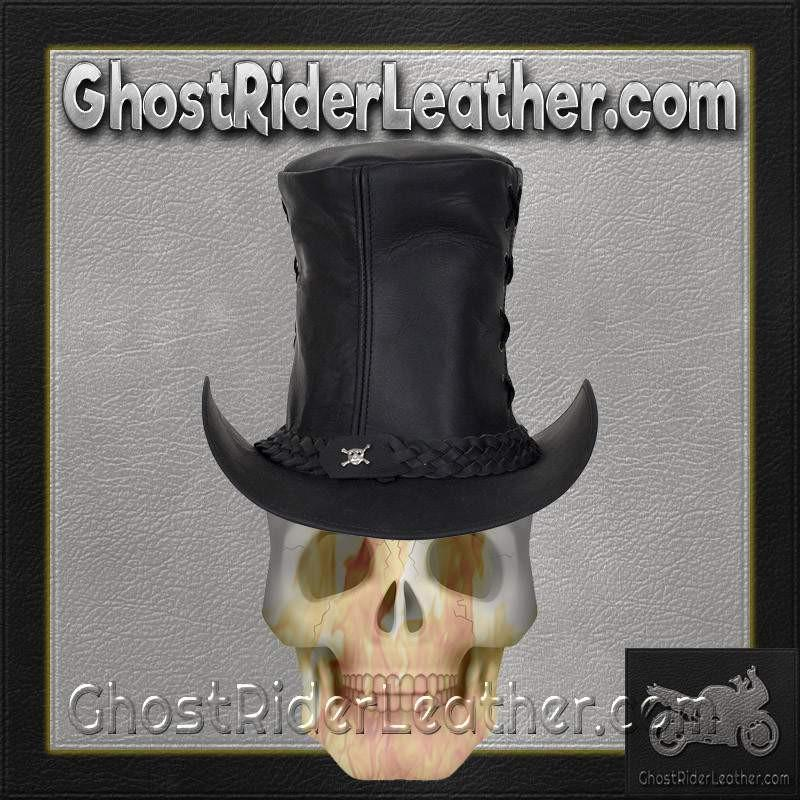 Black Leather Top Hat with Chrome Skull / SKU GRL-HAT14-11-DL-cowboy hat-Ghost Rider Leather