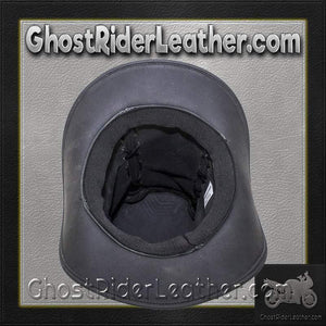 Black Leather Top Hat with Chrome Skull / SKU GRL-HAT14-11-DL - Ghost Rider Leather